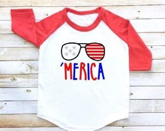 Merica, America shirt, USA, toddler raglan, toddler baseball tee, Memorial Day, Fourth of July