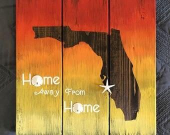 Sunset Wood Florida Home Sign Custom Made, Ombre Sunset, Sand Dollar Florida Sign, Starfish Coastal Home Sign, Florida decor, Gift Under 50