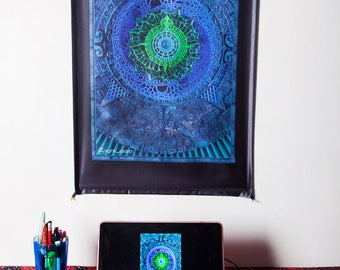 Wall Hanging,Tapestry,Banner,Visionary Art,Fabric,Photograph,Sublimation,Print,Light Wizard,Blue,Spiritual,Healing,Sacred Geometry,Shamanic