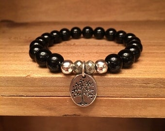 Black Agate with Tree of Life