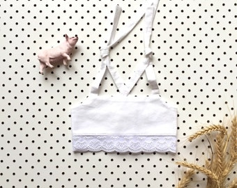 Baby girls cotton lace midriff bikini top