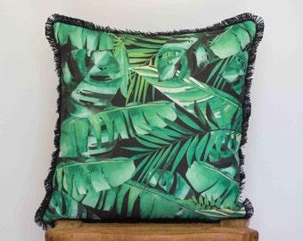 SALE Midnight Jungle Linen cushion with cotton fringe 60 cm square