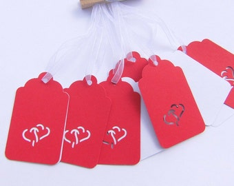 Gift tags red white pendant gifts badge guestbooks place card wedding