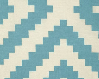 1 Yard Joel Dewberry Flora Diamante Fabric in Eucalyptus, Blue Aztec Fabric,  Blue Aztec Cotton, PWJD099.EUCAL