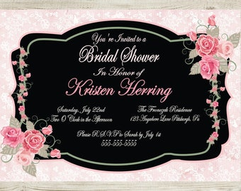Vintage - Pink and Black - Lace -  Bridal Shower Invitation - Personalized - Digital