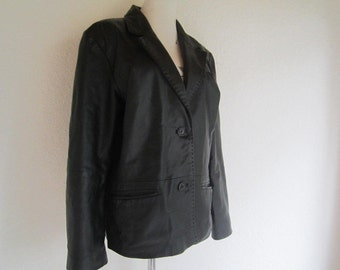 Vintage 90s leather jacket, leather jacket Blazer M