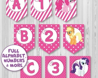 Full Alphabet Banner Bunting, My Little Pony banner, 3 DIFFERENT STYLES in 1, Birthday banner, Party banner, Instant Download, DIY