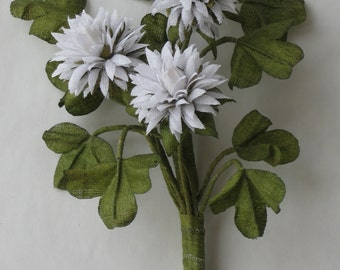 boutonniere for women, made from natural fabric flower clover of white color