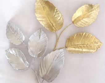 Gold or Silver Leaves - fillers flowers. Gum paste flowers gumpaste cake decoration sugar paste