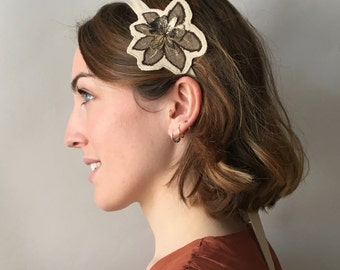 Beige jersey headband with embroidery, wearable also as belt or necklace