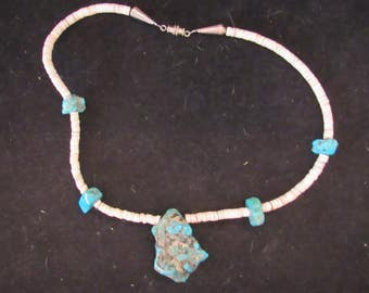 Wonderful Sterling Silver Turquoise Pucca Shell Pendant Necklace (E721)