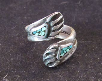 Wonderful Sterling Silver Inlay Turquoise Bear Claw Fetish Ring Size 8 (E730)