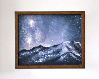 Painting | Oil on plywood | Oil painting | Night in mountains