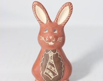 Brown Marble Stone Carved Bunny with a Tie Made in Uruguay