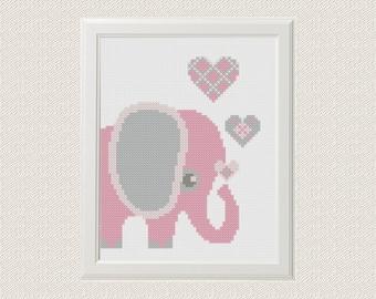 Elephant pdf cross stitch pdf pattern pdf Baby nursery art Animals Baby girl Modern Cross stitch