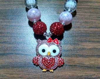 Valentine's Day Chunky Bubblegum Necklace.  Owl Love You Chunky Gumball Necklace