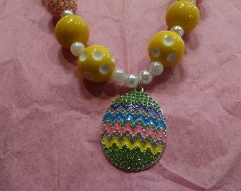 Easter Egg Girls Chunky Bubblegum Necklace.  Easter Gumball Necklace