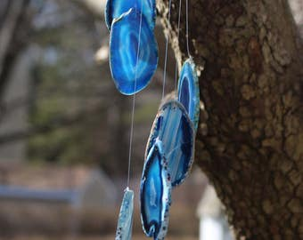 Medium Agate Wind Chimes || Hanging Crystal Mobile || Agate Slice || Crystal Wind Chime || Polished Agate || Boho || Many Colors Available