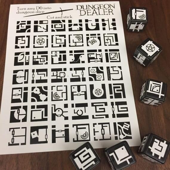 Dungeon Dice Sticker Sheet Vinyl Dungeons And Dragons