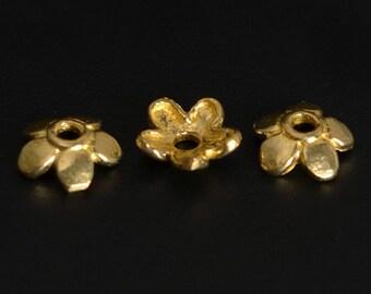 10 Brass Flower Petal Bead End Caps 6mm
