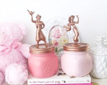 Princess nursery decor, mason jar, pink, copper, girl room decor, vase, pen pot, desk tidy, fairy lights, teen girl gift, kids, nursery