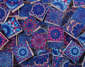 Ceramic Mosaic Tiles - Blue Pink Purple Moroccan Tile Design Medallions Mosaic Tile 60 Pieces - For Mosaic Art / Mixed Media Art/Jewelry