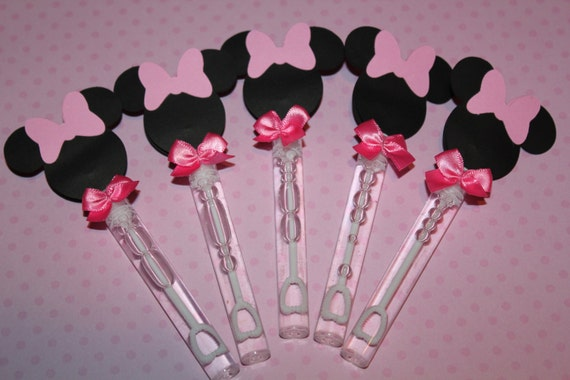 Minnie mouse inspired mini bubble wands party favors pink for Mini bubble wands