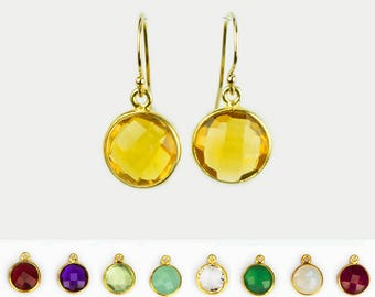 Minimalist Round Gemstone Dangle Earrings, Everyday Earrings, Bridesmaid Earrings, Birthstone Earrings, Gold Framed Stone, Round Stone
