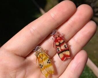 Mismatched Moth Earrings - OOAK Handmade Shrinky Dink Art