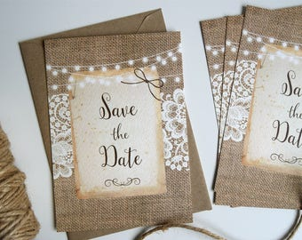 Rustic Burlap & Lace Wedding Save The Date Card SAMPLE ONLY