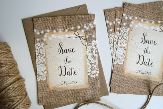 Rustic Burlap & Lace Wedding Save The Date Card Sample
