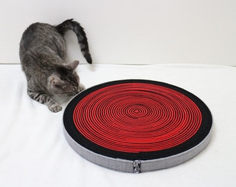Cat scratcher from black and red felt Cat toy Large round wheel cat scratcher cat bed cat sitting point Modern cat furniture