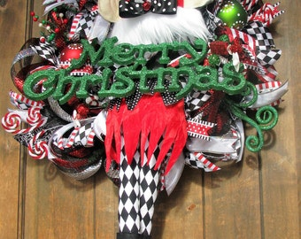 Deco Mesh Black Red White Checkered Elf Wreath-Merry Christmas Wreath-Whimsical Elf Wreath-Elf Character wreath-Hat and Legs wreath-door