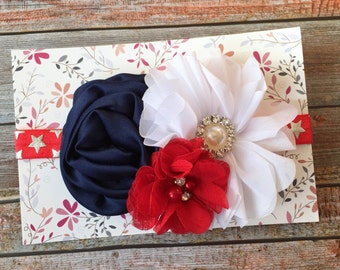 Red Headband, 4th of July Headband, Patriotic Headband, July 4th Headband, Baby Headband, Infant Headband, Newborn Headband, Baby Hair Bow