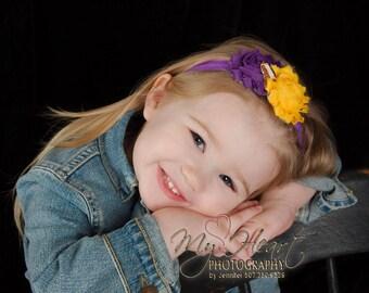 Purple & Gold Headband/Purple and Gold Baby Headband/Minnesota Football Headband/Baby Football Headband/Baby Headband/Sport Headband/Infant