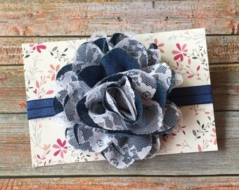 Navy Blue Baby Headband/Denim Baby Headband/Baby Hair Bow/Blue Baby Headband/Denim/Baby Headband/Baby Girl Headband/Newborn Headband/Baby