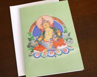 Notecard, 5x7, Buddha, Blank Inside, Single Card, Envelope Included, Dzambala, Zambala, Tibetan Buddhism, Wealth Buddha, All Occasion