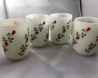 Vintage Set of 4 Anchor Hocking White Milk Glass Mugs with Red Roses