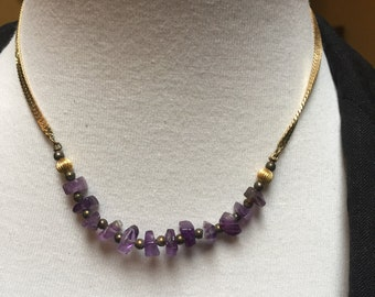 Gold Filled Amethyst Beaded Choker Necklace