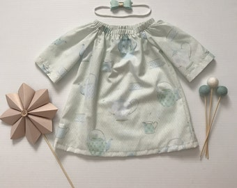 000- Girls Long Sleeved Dress- Teapots