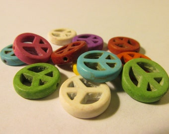 """Dyed Howlite Mini """"Peace"""" Symbol Bead Charms, 15mm, Set of (8) Assorted Colors"""