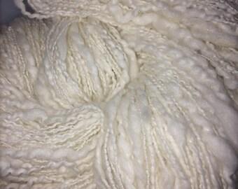 Handspun Angora Art Yarn - White Fire