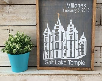 Salt Lake Temple With Customized Name and Date Wood sign