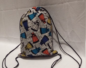 Doctor Who Colorful Daleks Drawstring Backpack