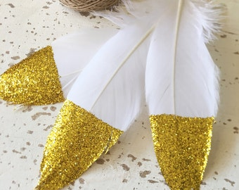 15 Glitter Dipped Feathers With 3m Twine / White Feathers Gold Glitter / DIY Feather Garland