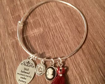 Well behaved women adjustable bangle charm bracelet