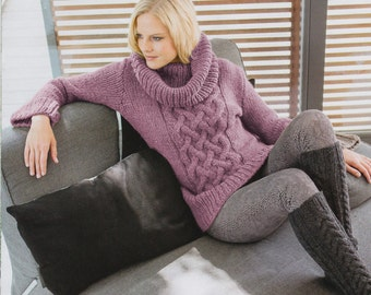 soft, thick cable sweaters with large collar free shipping