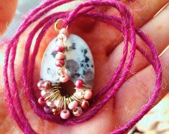 Pixie fairy sesame jasper stone necklace. Hippie. Boho. Festival