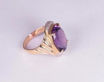 14K Yellow Gold Large Oval Amethyst and Diamond Chip Ring, size 4
