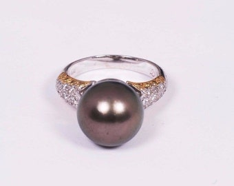 18K White Gold Ring with a 12.5 mm. Black Pearl and Melee, size 6